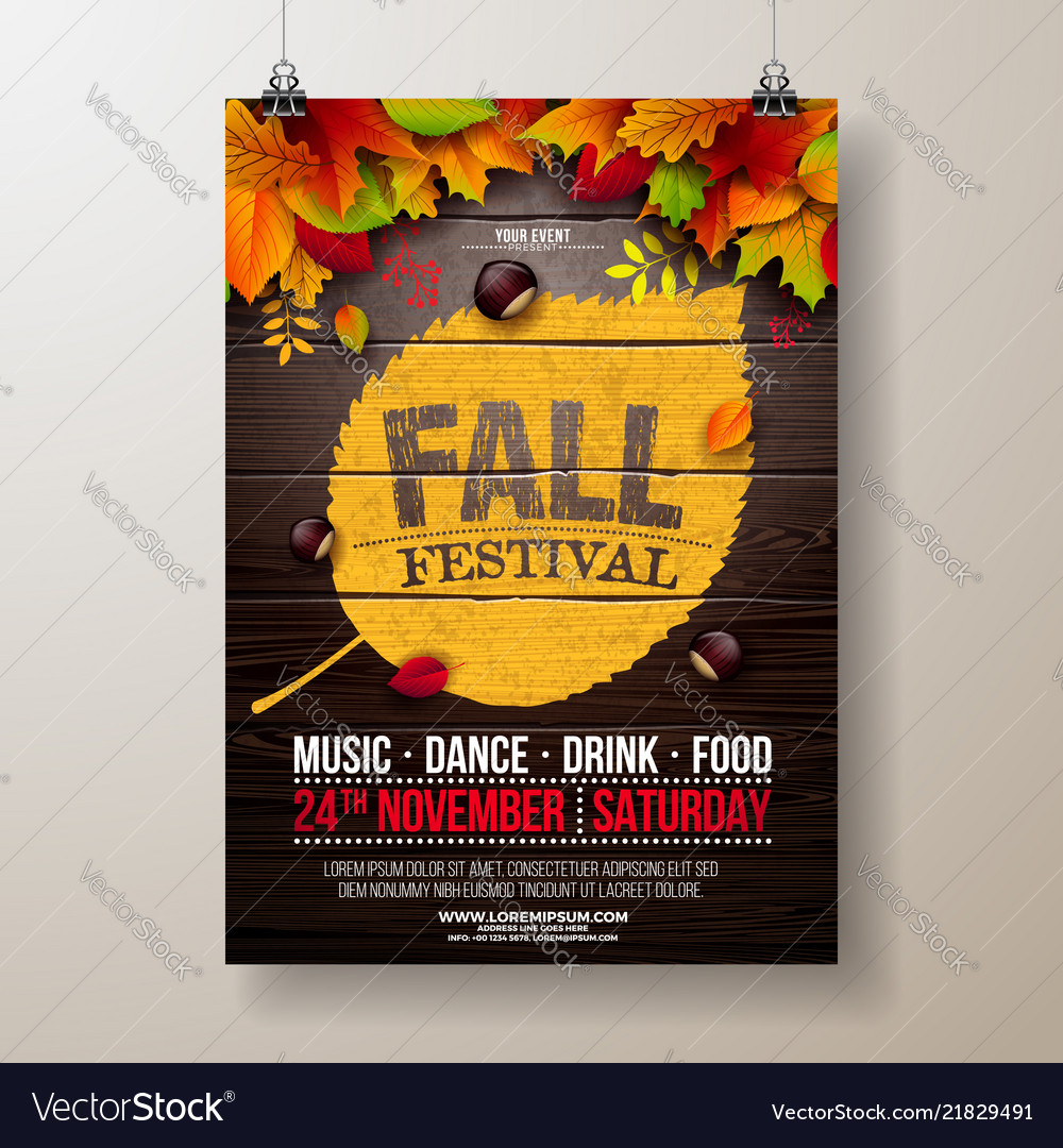 Autumn party flyer with falling