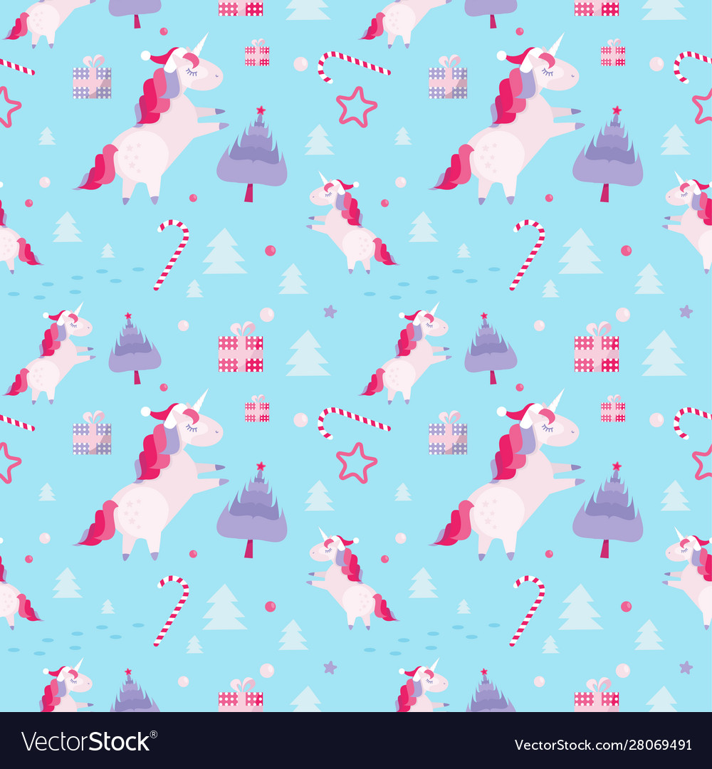 Christmas seamless pattern with unicorns fir
