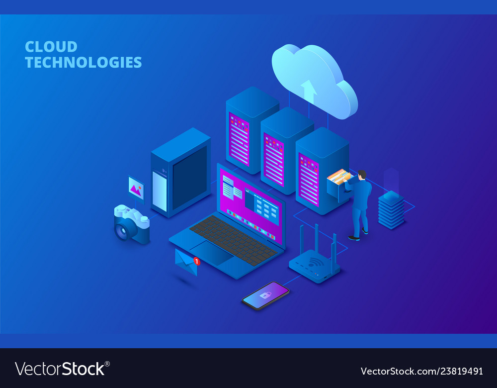 Dark isometric cloud storage technology concept