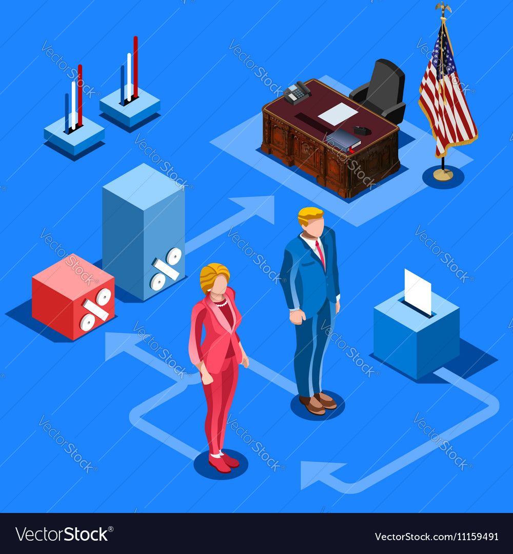 Election Infographic Us Presidential Isometric