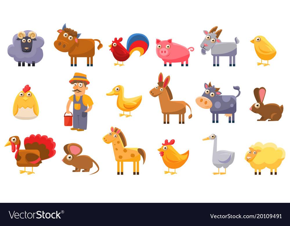Farm animals set male farmer livestock and pets