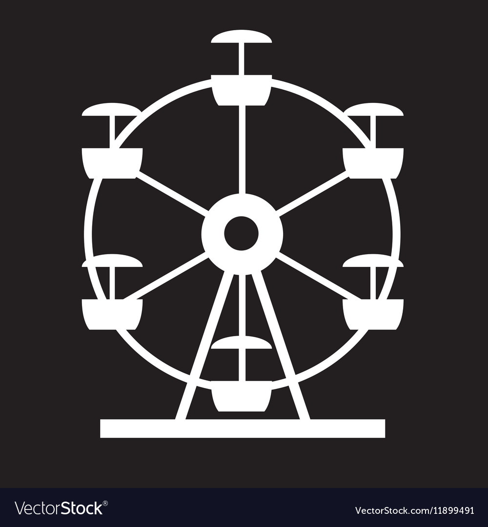 Ferris Wheel Icon Silhouette Entertainment Round