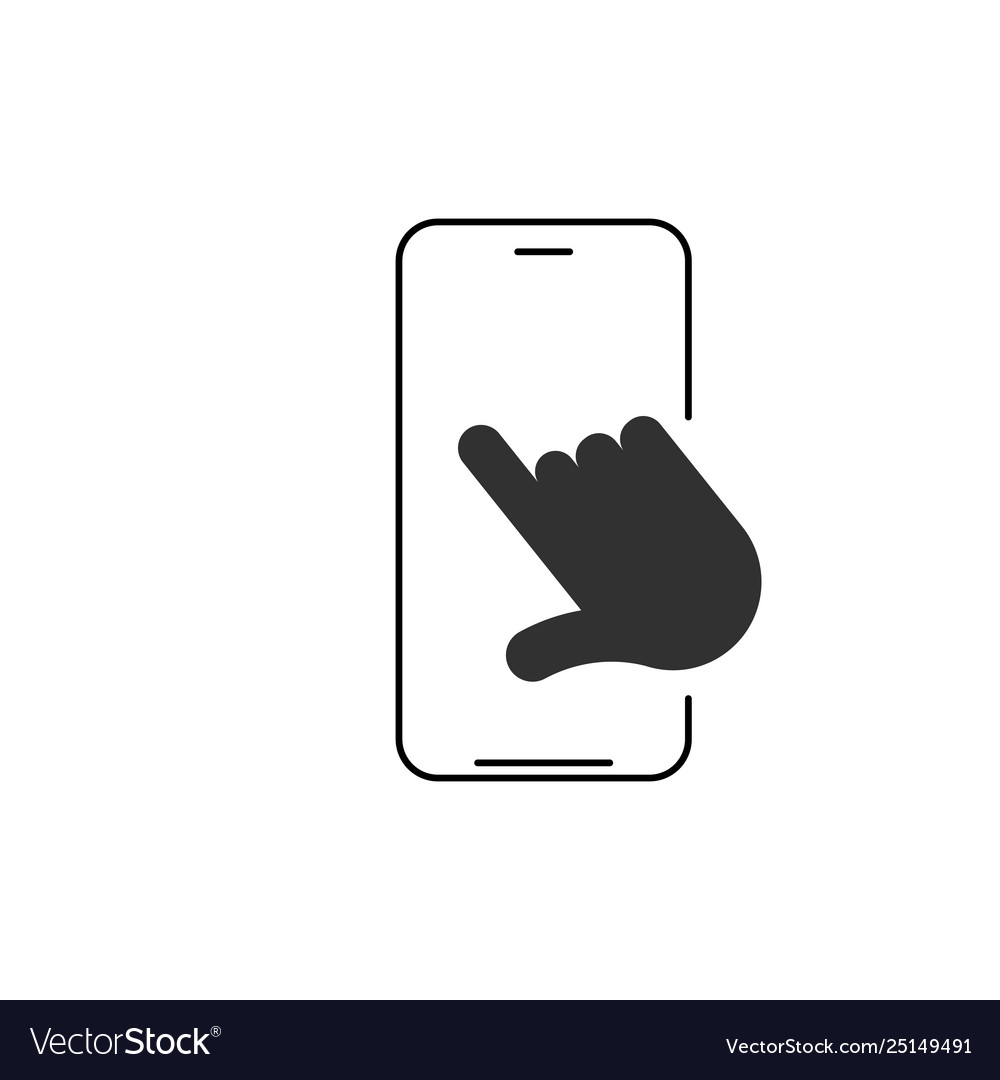 Linear phone and technology icon with hand
