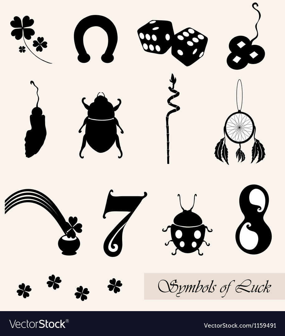 Luck Symbols Set Royalty Free Vector Image Vectorstock