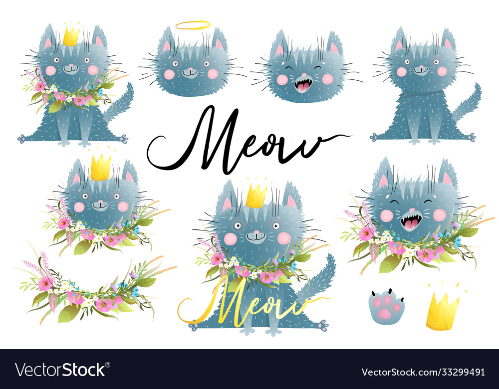 Meow funny cat or kitten watercolor