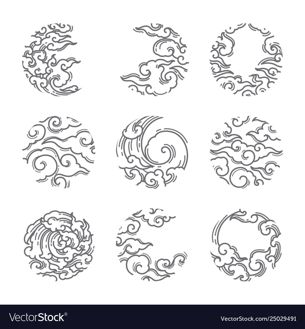Traditional asian cloud round shape set