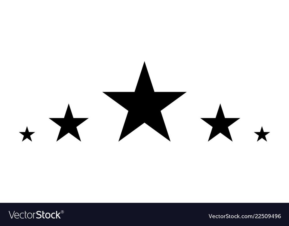5 stars black star in flat style star icon