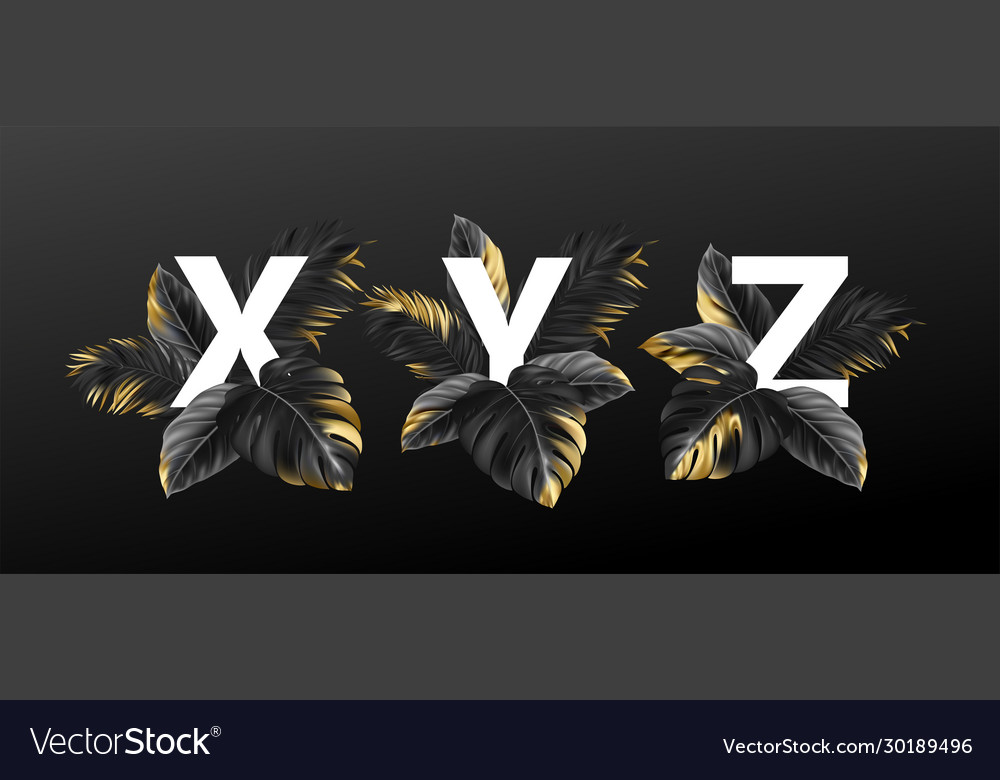 Alphabet letters in black with golden exotic