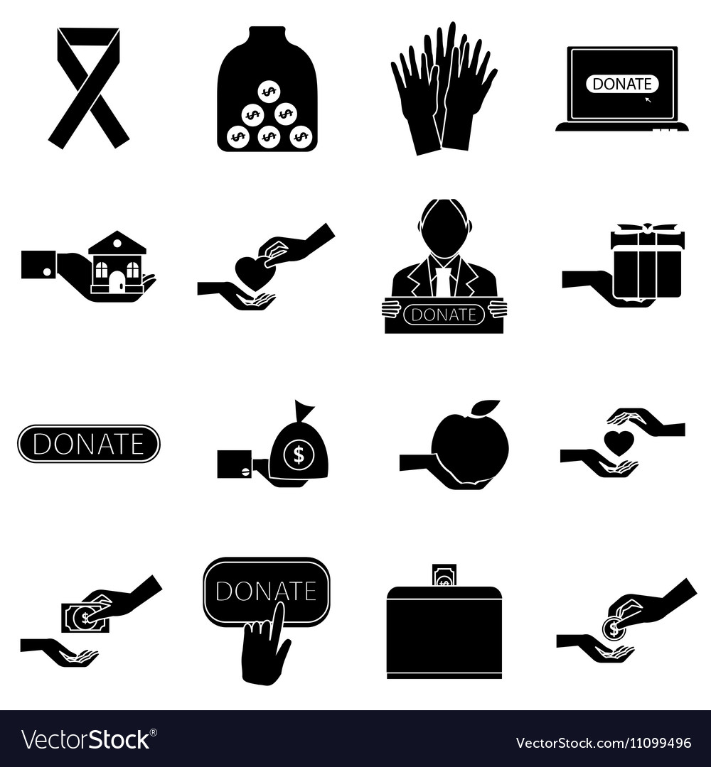 Charity icons set simple style