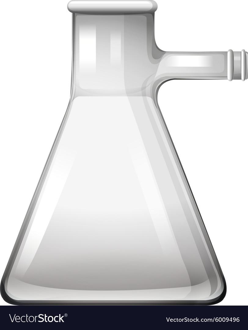 Empty glass beaker with tube