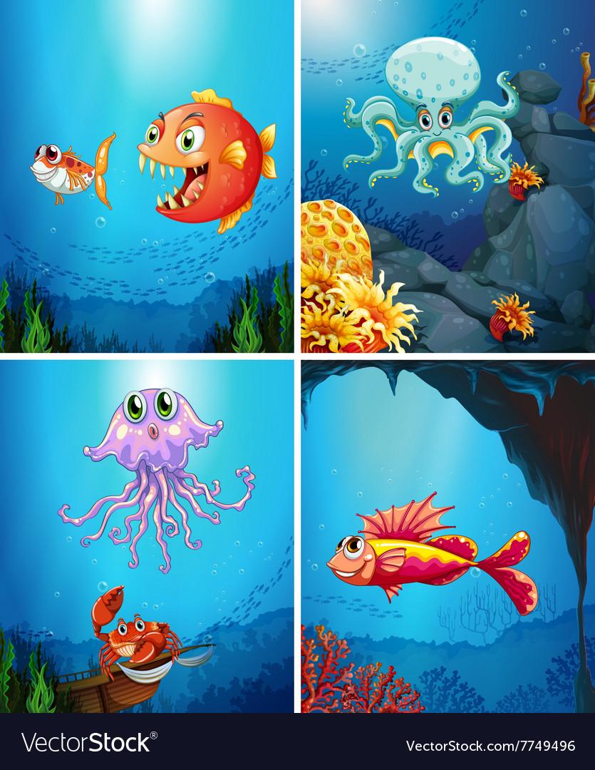 Four scenes of sea animals in the sea