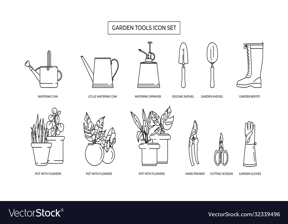 Gardening simple icon set contains icons