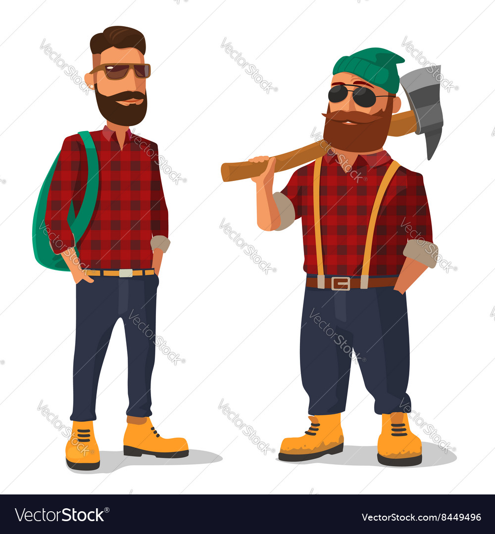 Lumberjack and hipster in the yellow shoes red vector image