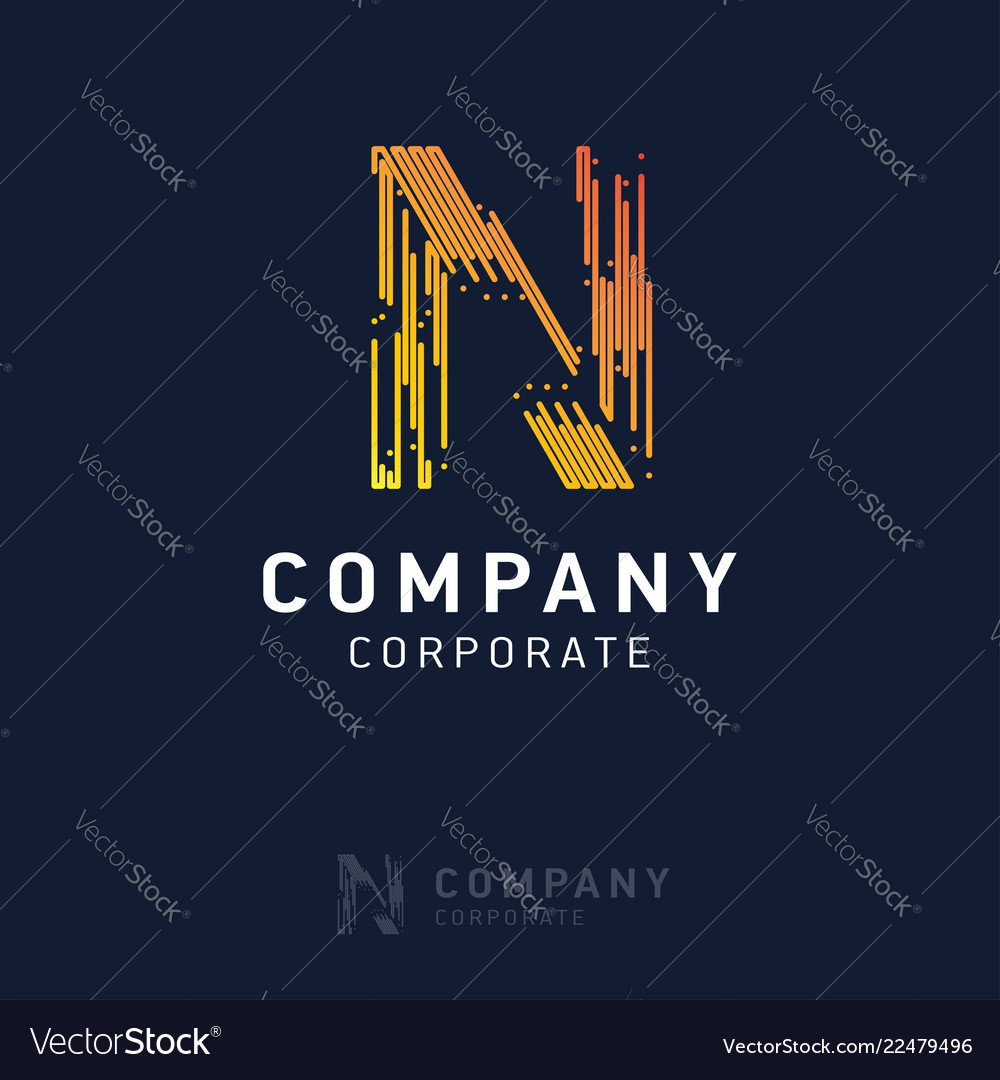 N company logo design with visiting card