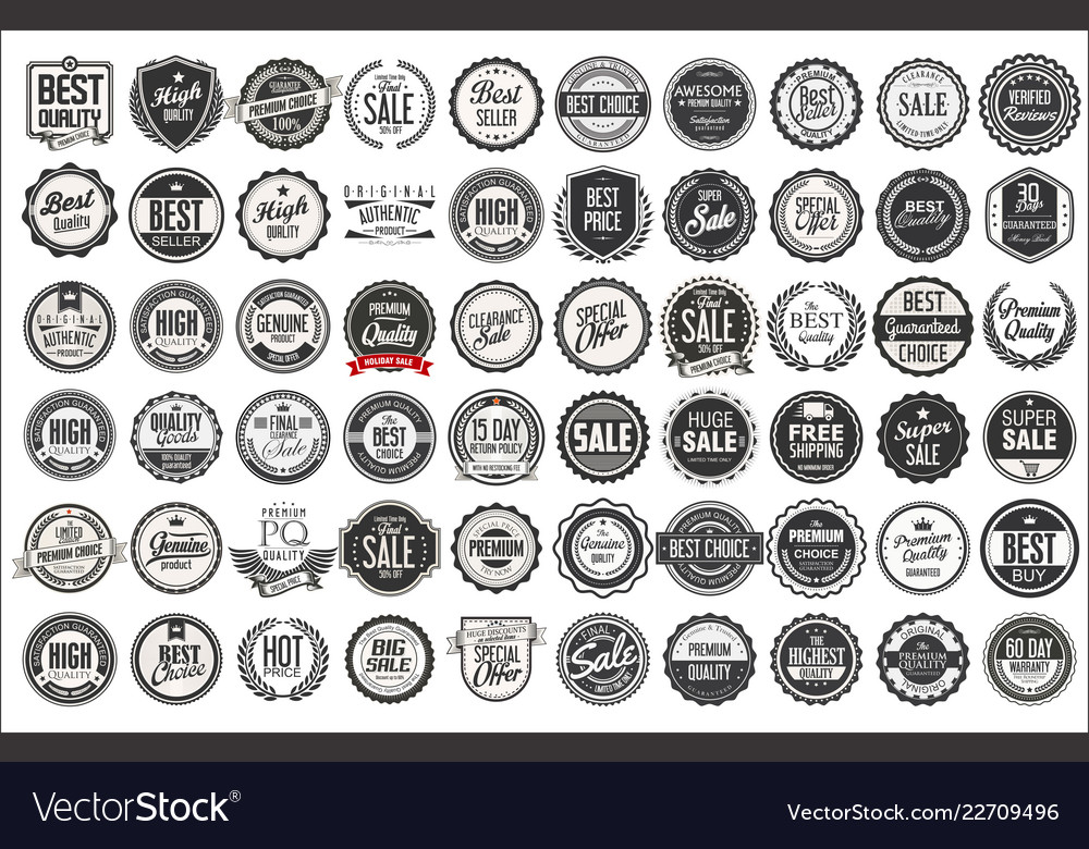 Retro vintage badges and labels collection 1