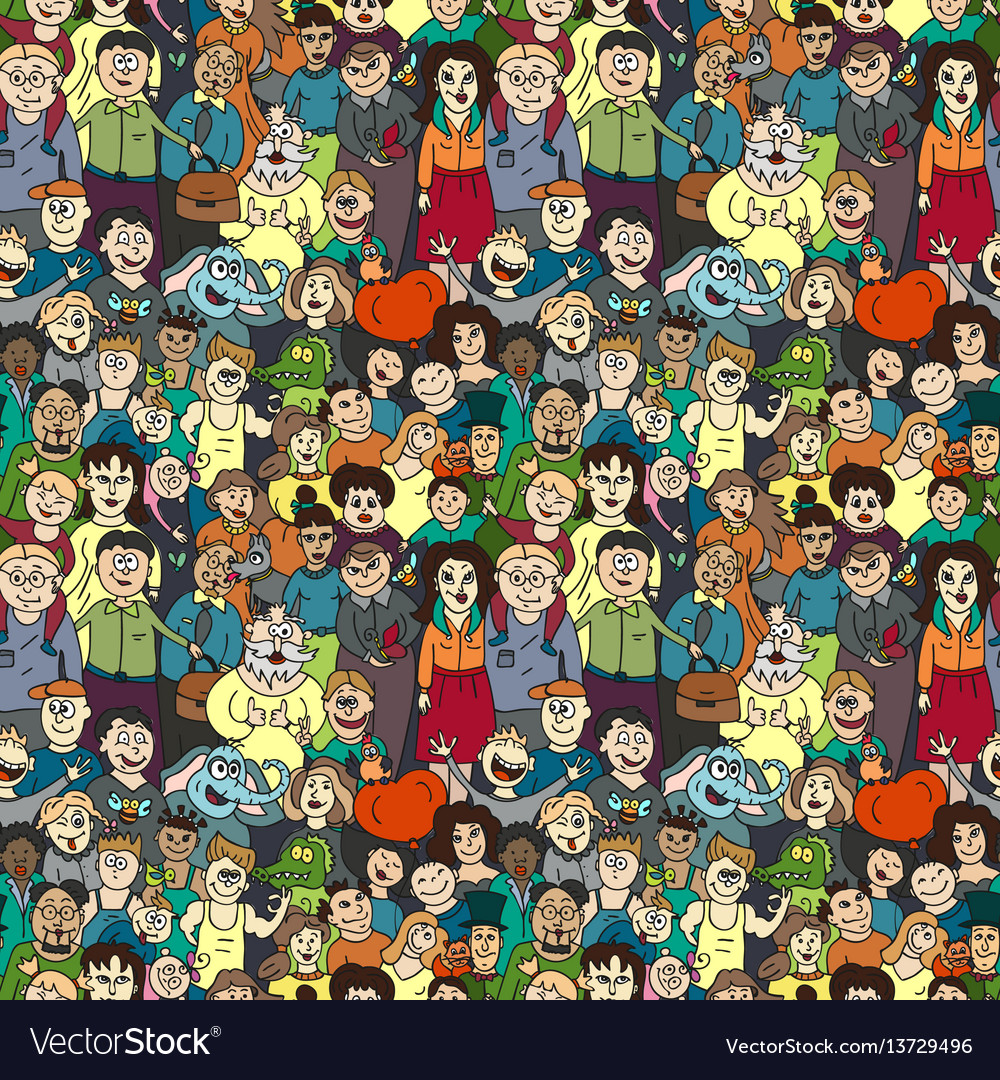 Seamless pattern of happy laughing people