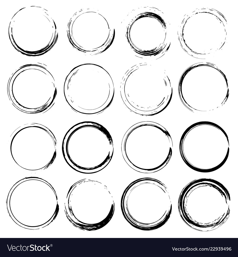 Set of grunge circles shapes