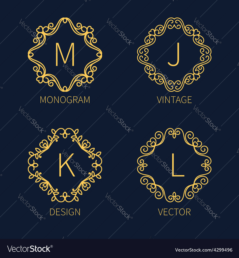 Set outline monograms frame