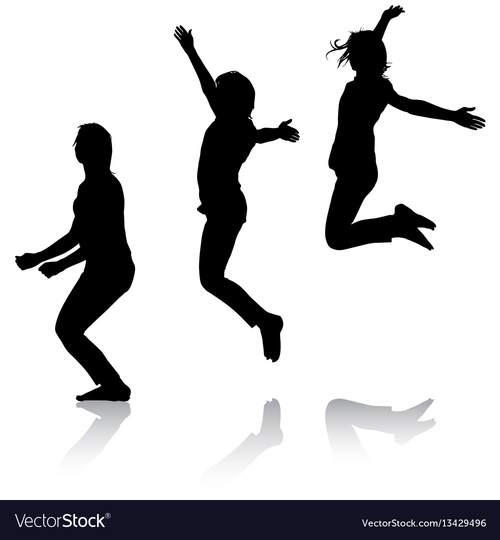 Silhouette of three young girls jumping with hands