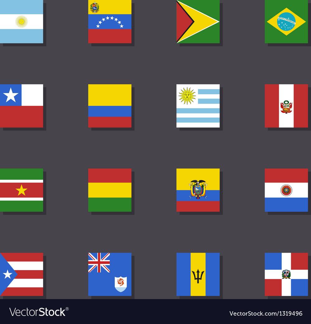 South America flag icon set Metro style vector image