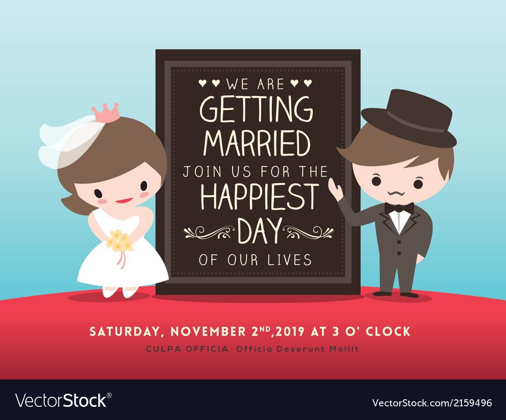 Wedding invitation board groom bride cartoon