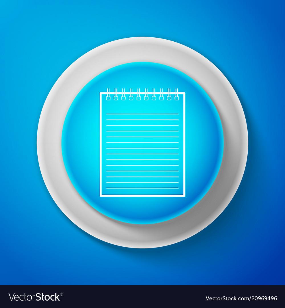 White notebook icon isolated on blue background