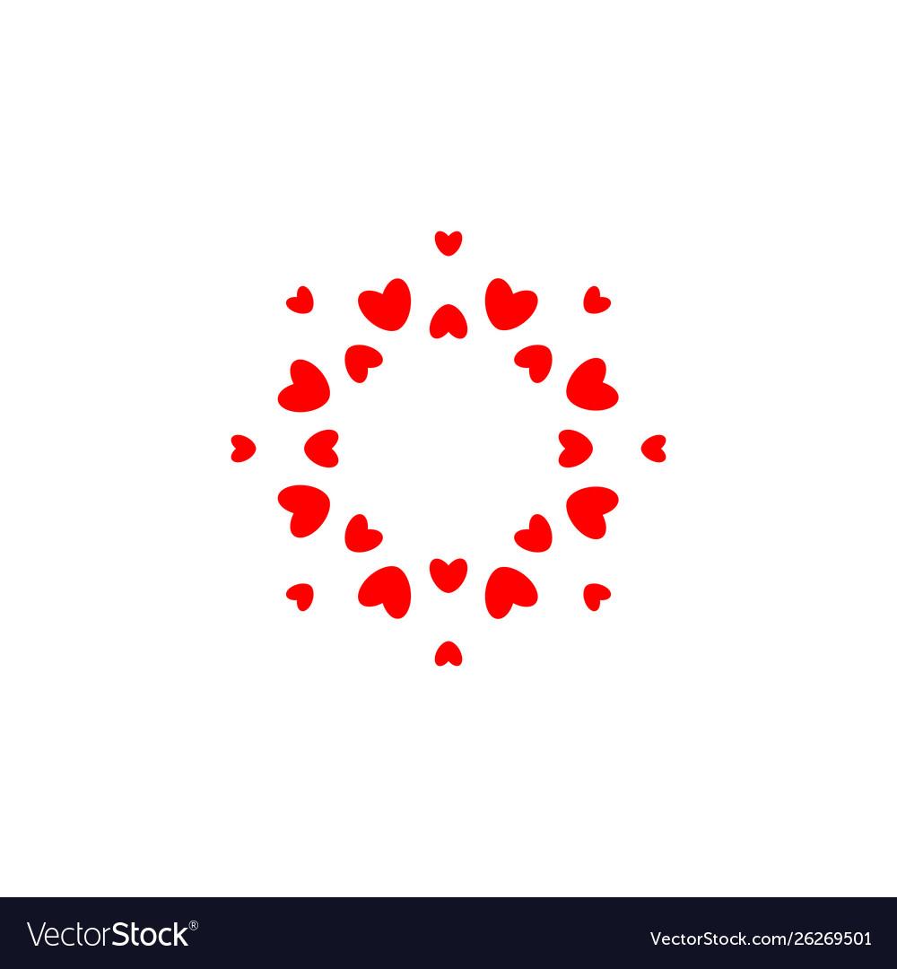 Abstract love logo circle hearts frame