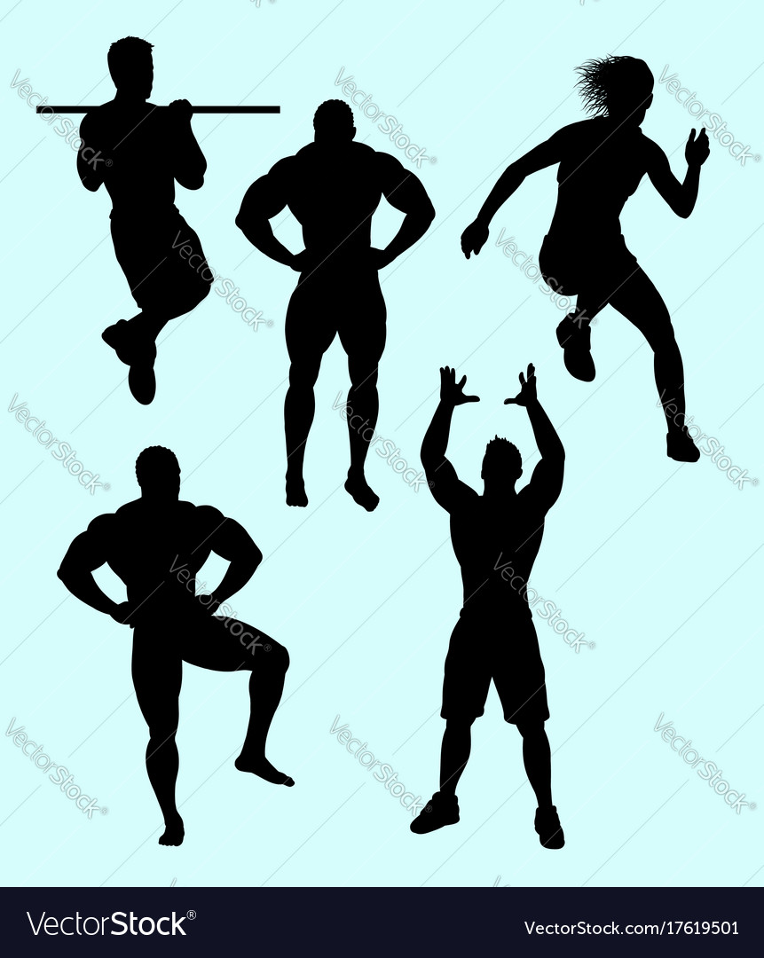 Body building and sport action silhouette