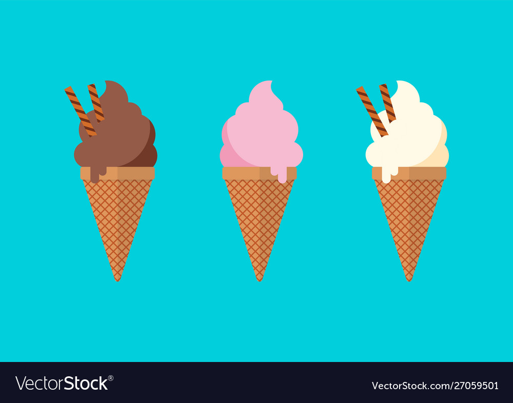 Chocolate vanilla and strawberry ice cream in the