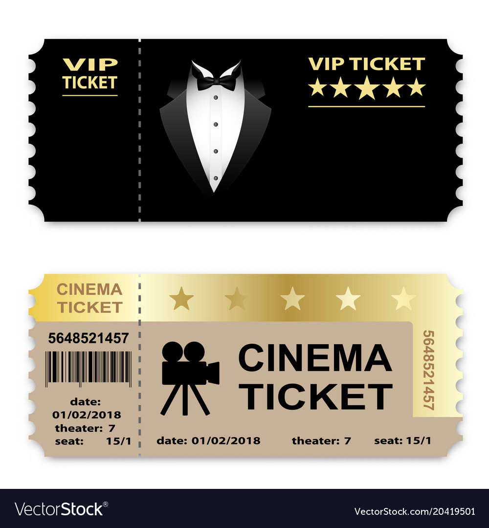Cinema business vip tickets isolated on white