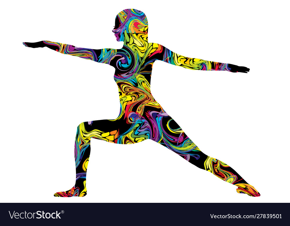 Colorful silhouette a woman in yoga posture