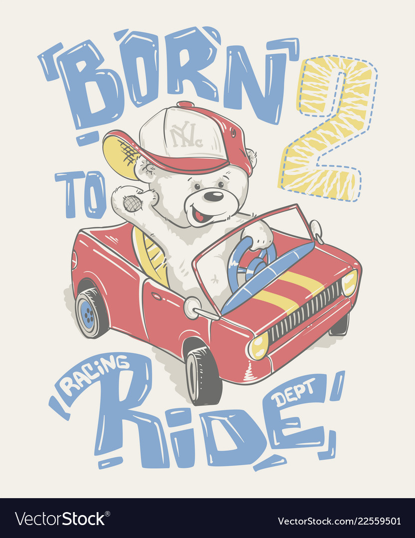 Cool little bear in cap driving a car cartoon