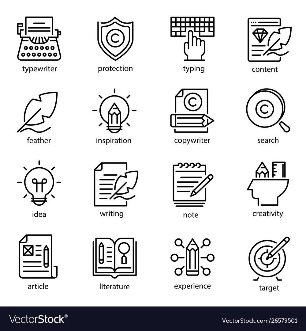 Copywriting icon set social media and business