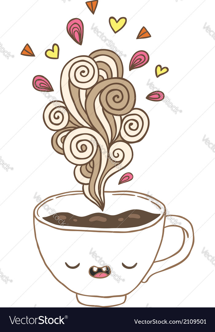 Cute Cartoon Coffee Cup With Doodle Steam Vector Image
