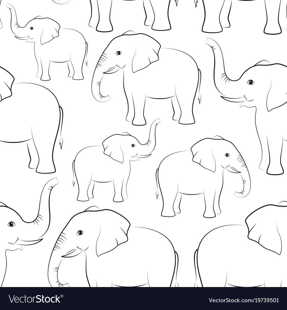 Elephants contours seamless
