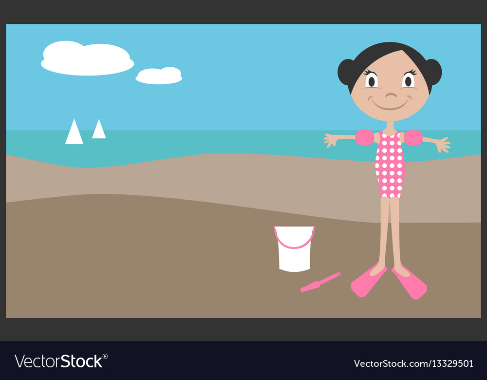 Girl on vacation in summer vector image