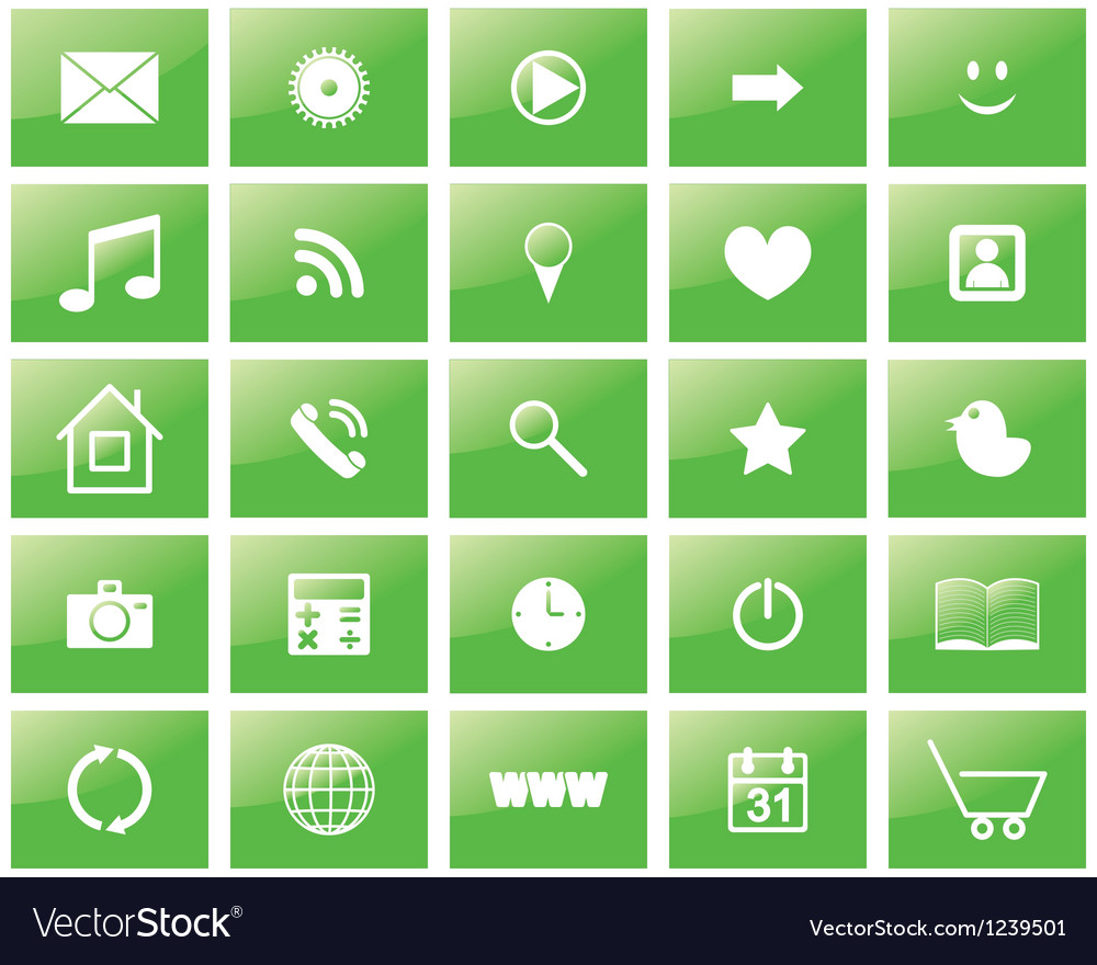 Green eco set of icons