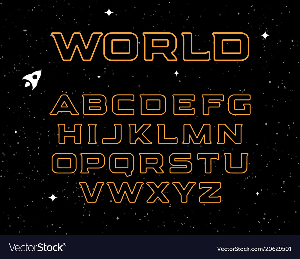 Isolated yellow color alphabet elements on black
