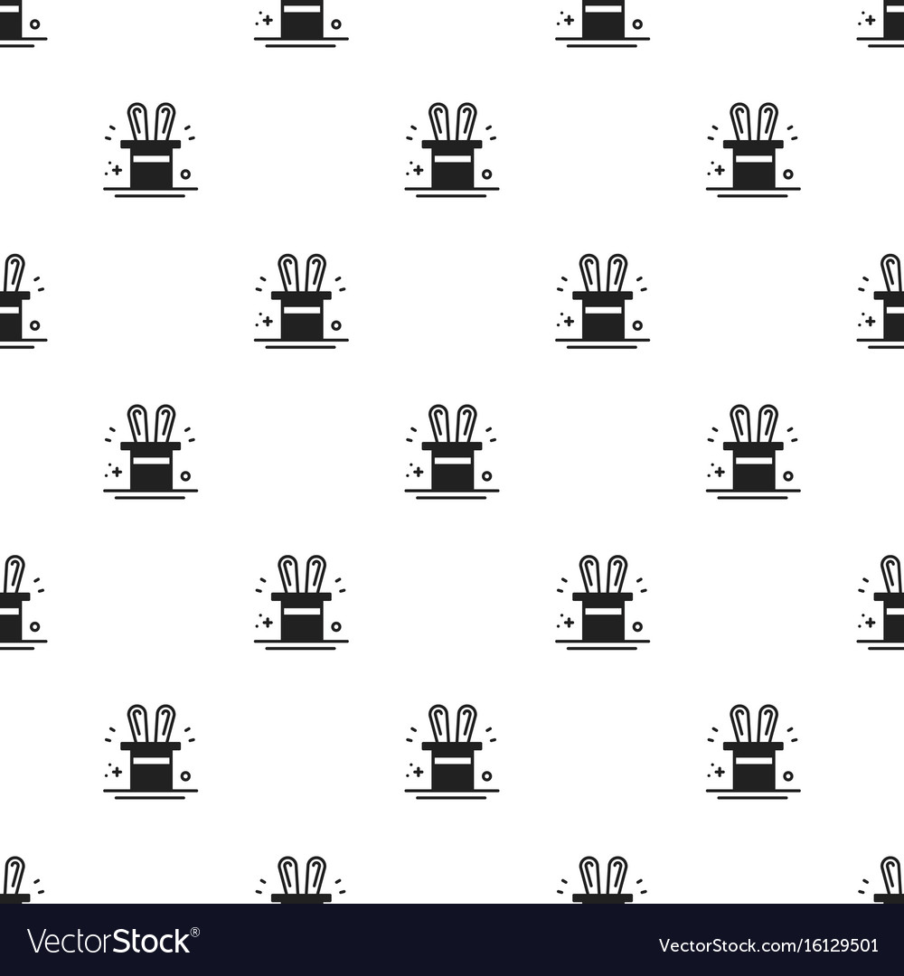 Magic trick seamless pattern rabbit in magician
