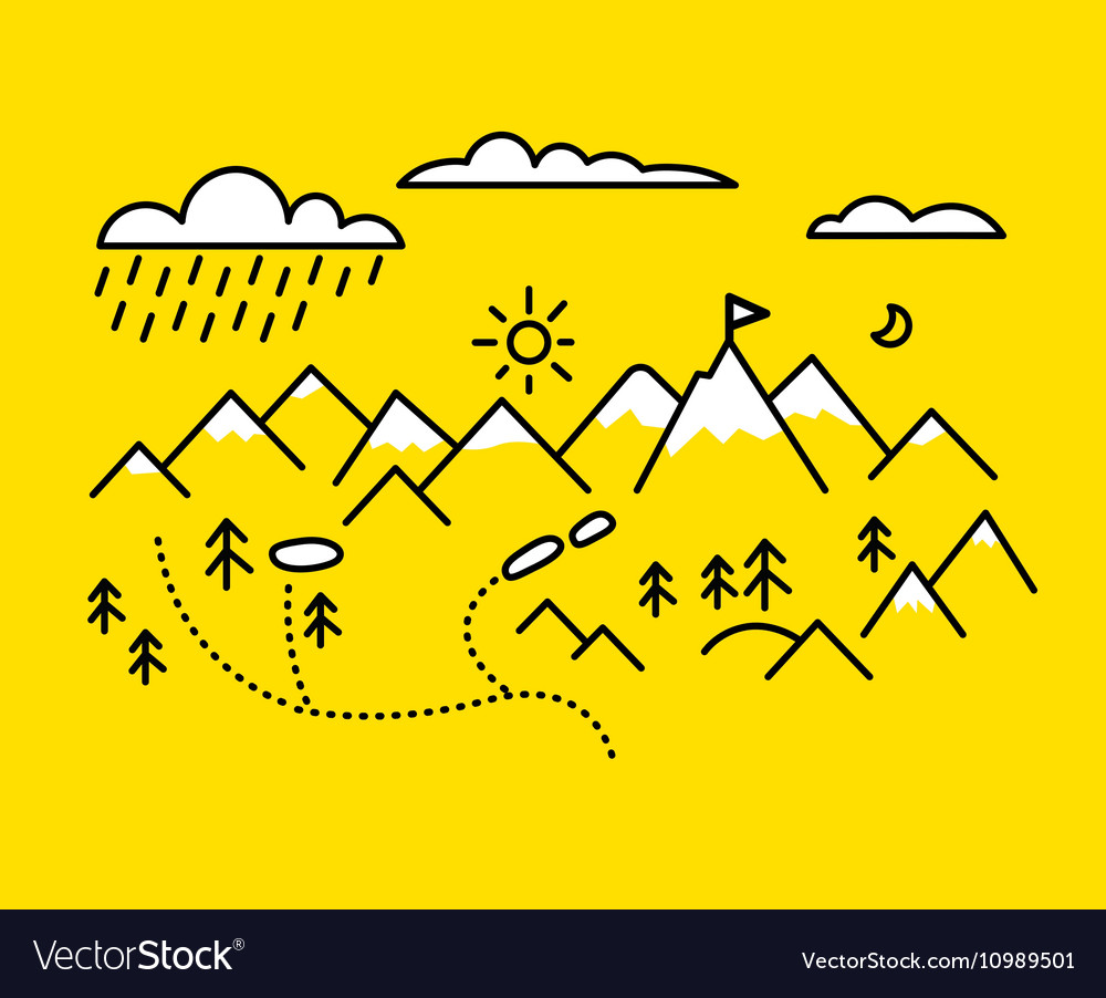 Map mountains Set graphic elements yellow black