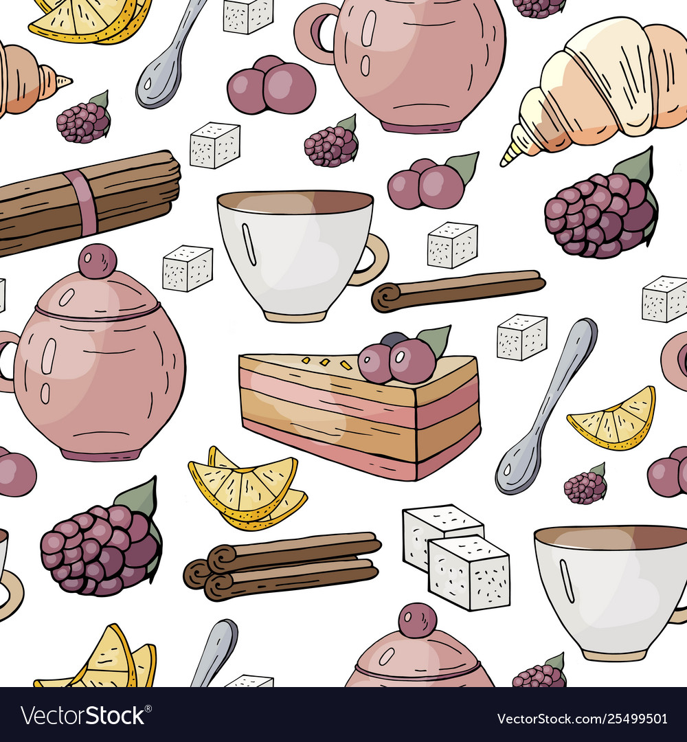 Seamless pattern with different tea and cakes