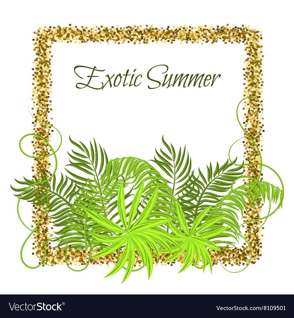 Summer Tropical Green Plants in glitter frame