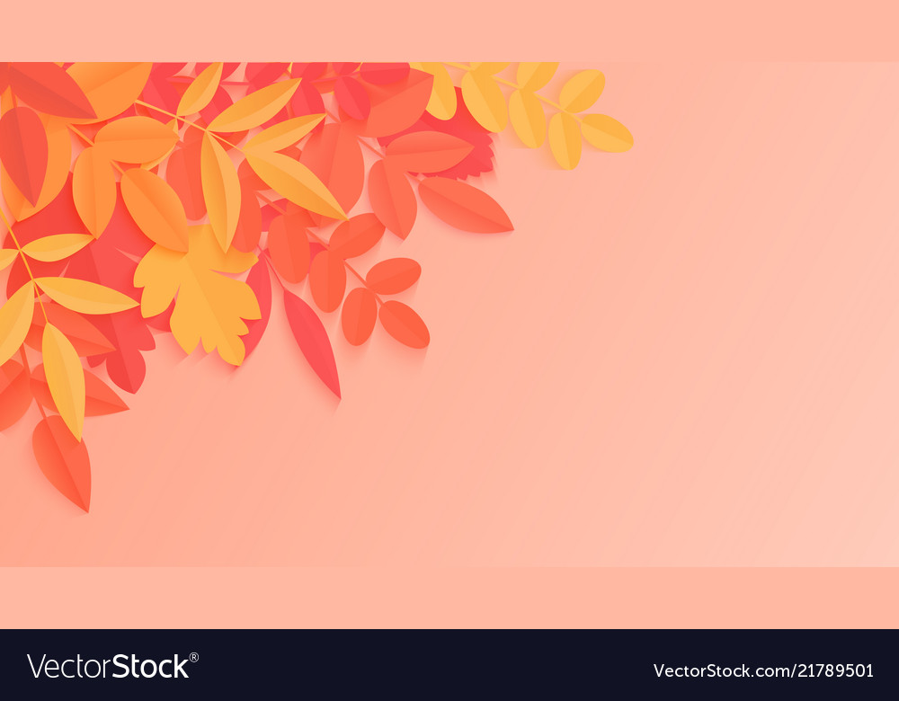 Trendy autumn background with paper style bright