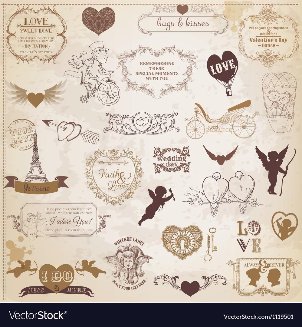 Vintage Love Valentine Day Design Elements
