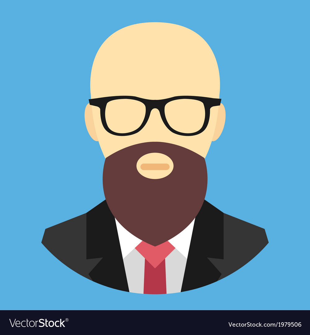 Bald Man with Beard and Glasses Icon