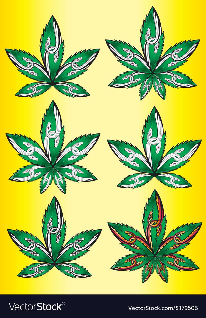 Cannabis Marijuana Leaf Peaceful Snake Symbol Vector Image