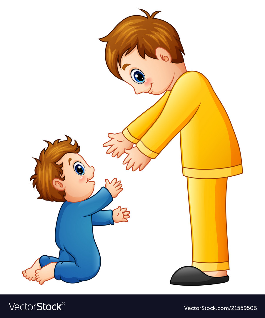 Cartoon dad holding his son hands
