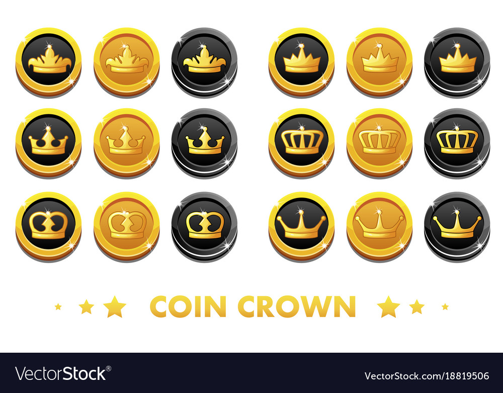 Cartoon gold and black coins with the emblem crown