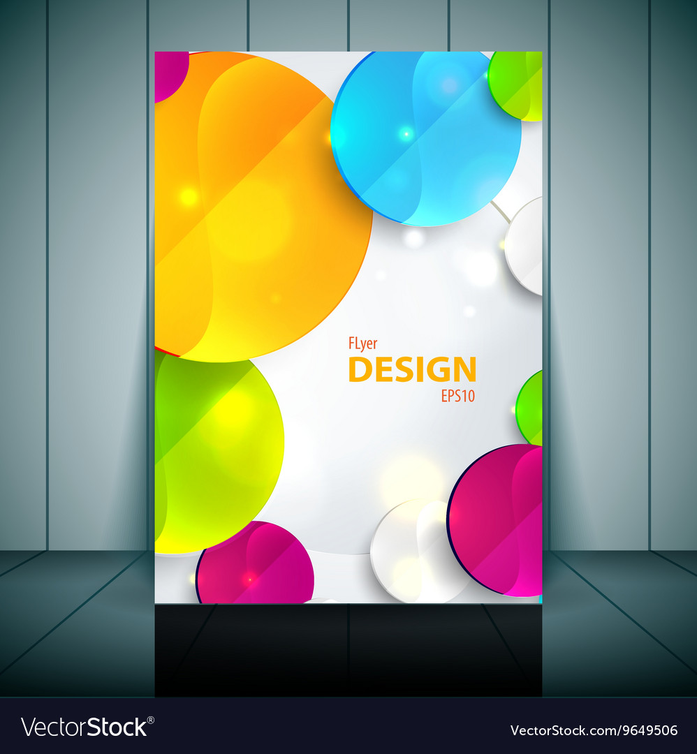 colorful 3d circles business flyer template vector image