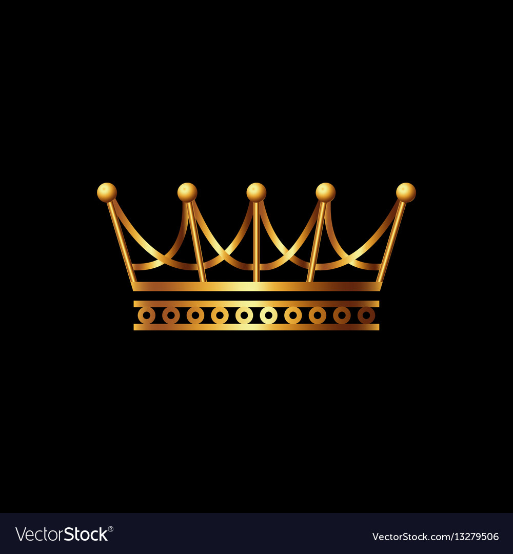 crown gold symbol icon on black background vector image